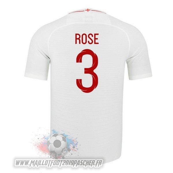 Maillot De Foot Personnalisé Nike NO.3 Rose Domicile Maillots Angleterre 2018 Blanc