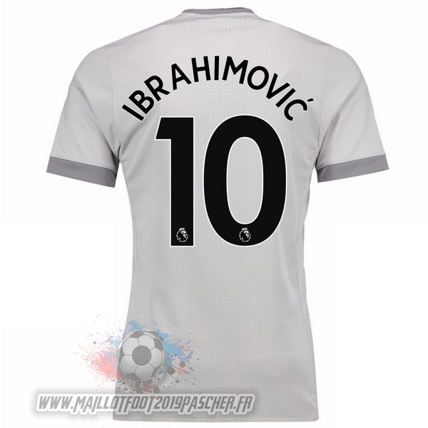 Maillot De Foot Personnalisé adidas NO.10 Ibrahimovic Third Maillots Manchester United 2017 2018 Gris