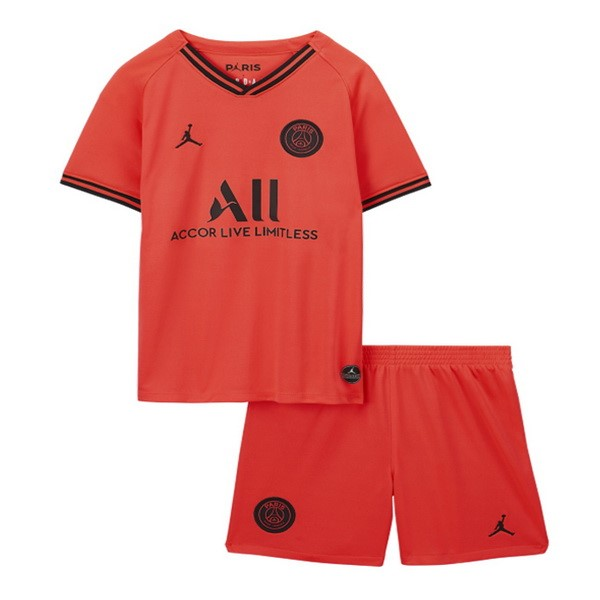 Maillot De Foot Personnalisé JORDAN Exterieur Ensemble Enfant Paris Saint Germain 2019 2020 Orange