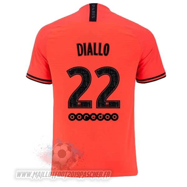 Maillot De Foot Personnalisé JORDAN NO.22 Diallo Exterieur Maillot Paris Saint Germain 2019 2020 Orange